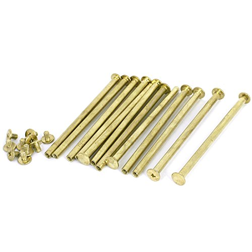 Scrapbook Leather 5x90mm Brass Plated Binding Chicago Screw Post 12pcs (Brass Screw Post Binding)