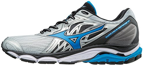 Mizuno Men's Wave Inspire 14 Running Shoe, Silver/Directoire Blue, 11.5 2E US