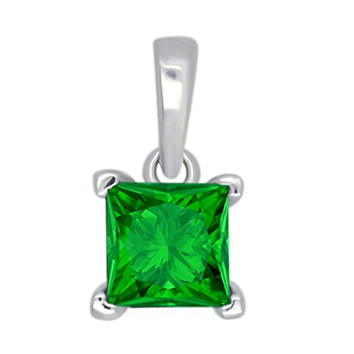 omega jewellery 1.00 Ct Princess Cut Simulated Emerald 925 Sterling Silver Prong Set Solitaire Pendant Without (Omega Style Necklace)