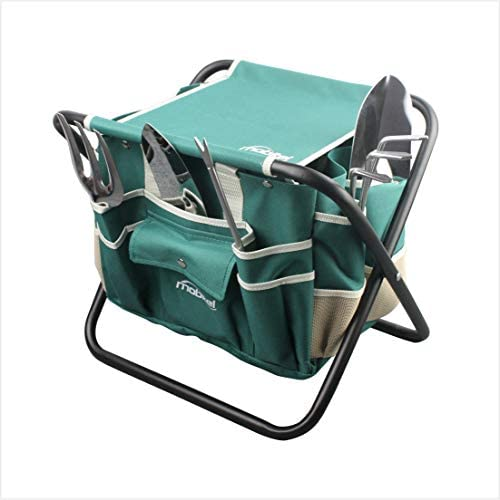 haoyin Garden Tools Sets- Heavy Duty Gardening Gift Tool Kit Including Folding Stool with Tool Bag 5 Sturdy Stainless Steel Tools Gardening Trowel Trans-Planter Weeder Rake for Women Men