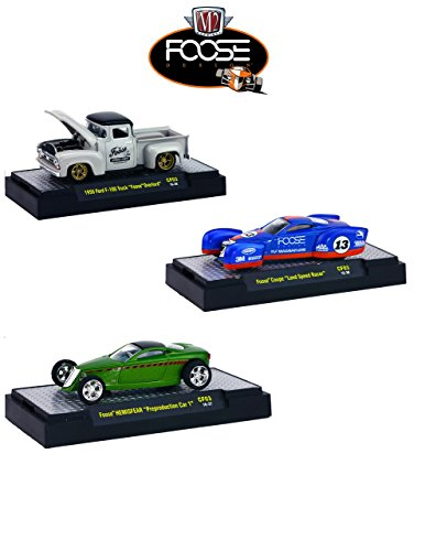 M2 Machines Chip Foose Release 3, 3 Cars Set with Cases 1/64 32600-CF03