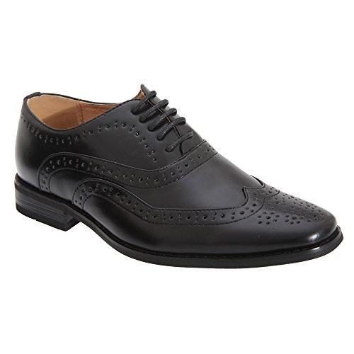 Goor Jungen 5 Ösen Brogue Oxford Schuhe (38 EU / 5 UK) (Schwarz)