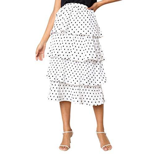 NREALY Falda Womens Chiffion Boho Printing Party Chiffion High Waist Lace-up Hip Long Skirt(L, White)