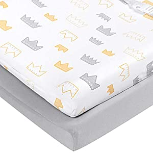"TILLYOU Jersey Cotton Ultra Soft Changing Pad Cover Set-Cradle Sheet Unisex Change Table Sheets for Baby Girls and Boys – Fit 32″/34"" x 16″ Pad – Comfortable Cozy Hypoallergenic-2 Pack Crown & Gray"