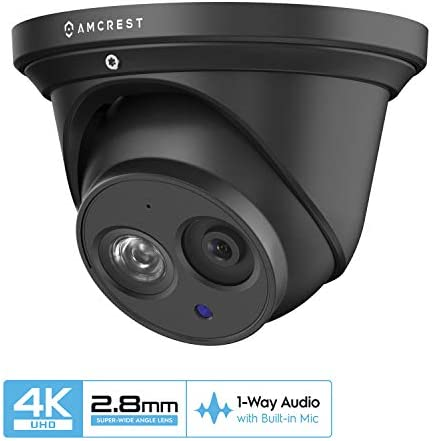 Amcrest UltraHD 4K 8MP Outdoor Security IP Turret PoE Camera, 3840×2160, 164ft NightVision, 2.8mm Lens, IP67 Weatherproof, MicroSD Recording 128GB , Black IP8M-T2499EB-28MM