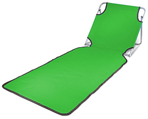 Ideas In Life Portable Beach Mat Lounge Folding Chair - Folds Flat for Travel Adjustable Reclining Back - Outdoor Lightweight for Kids and Adults (Green) by Ideas In Life