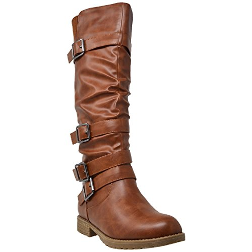 Generation Y Womens Knee High Boots Strappy Ruched Leather Adjustable Buckles Chestnut Brown SZ (Leather Buckle Boot)