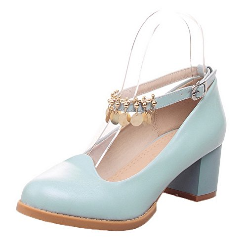 AllhqFashion Pumps Shoes Heels Solid Blue Toe PU Buckle Kitten Closed Pointed Womens zp1xarqf6z
