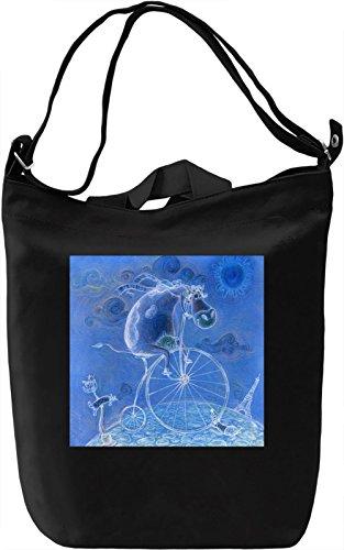Bear on A Bike Borsa Giornaliera Canvas Canvas Day Bag| 100% Premium Cotton Canvas| DTG Printing|
