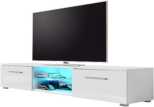 Soporte de TV EDITH con iluminación LED (Blanco mate / blanco ...