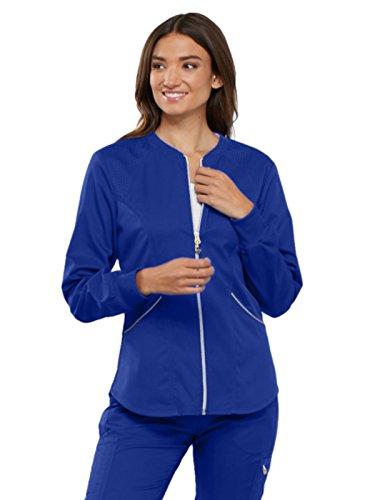 Rib Knit Jacket - Cherokee Luxe Sport CK300 Zip Front Warm-Up Jacket Galaxy Blue 3XL