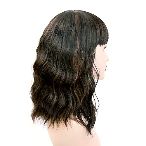 UHIBROS Short Wavy Wigs Black Highlight With Natural Bangs Shoulder Length Wig For Women Ladies Synthetic Heat-Resistant For Party Daily (Black Mixed Brown )