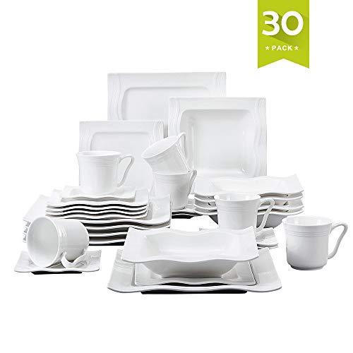 Dinner Set Flora Plate - Malacasa, Series Mario, 30-Piece Ivory White Porcelain China Ceramic Cream White Dinner Combi-Set with Cups Saucers Dessert Plates Soup Plates and Dinner Plates Dinnerware Service for 6