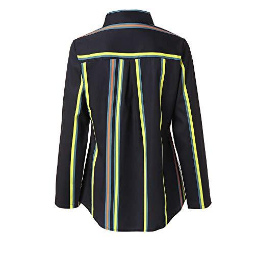 Shirt Multicolore Casual Haut Chemise Col Mode Vtement Rayures Vintage lgant Blouse SANFASHION Travaille V qU1gtO4yf