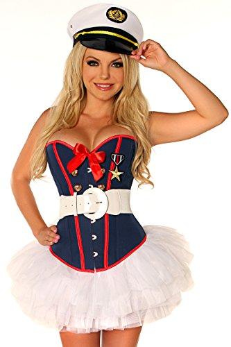 Female Marine Costume (Daisy Corsets Women's 4 Piece Sexy Marine Costume, Blue,)