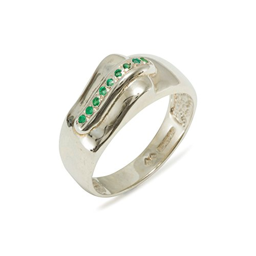 925 Sterling Silver Natural Emerald Mens Wedding Band Ring - Size 5.5 -