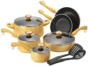 Paula Deen Signature Porcelain 12-Piece Cookware Set, Butter