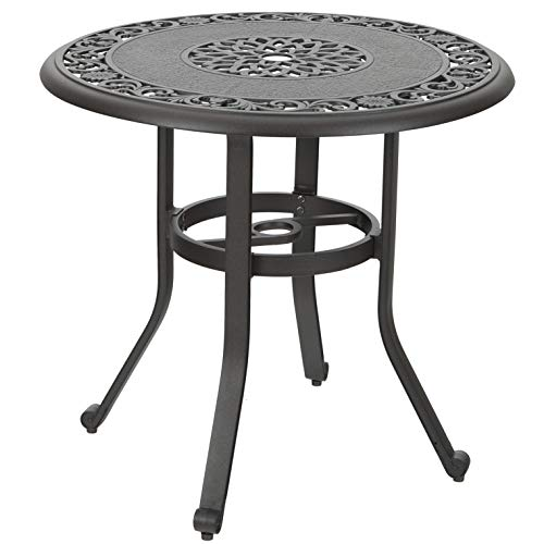 PHI VILLA 32 in Cast Aluminum Patio Outdoor Bistro Round Dining Table with Frosted Surface ()