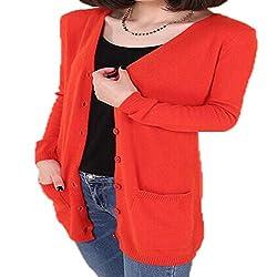 Molif Wool Sweater Medium Long Cashmere Cardigan Women Loose Sweater Outerwear Coat With Pockets Orange Xxxl