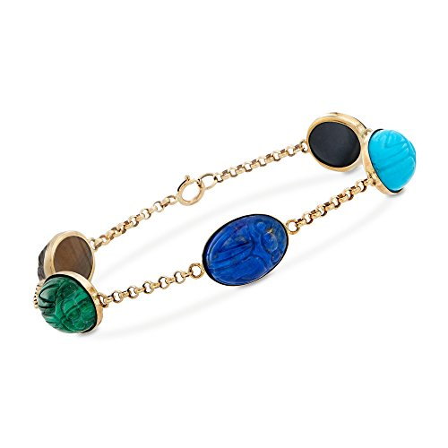 Ross-Simons Carved Multi-Stone Scarab Station Bracelet in 14kt Yellow Gold