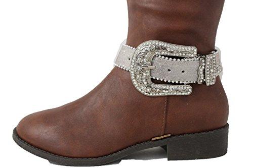 TFJ Women Western Fashion Boot Silver Belt Buckle Bling Bracelet Metal Shoe Charm White Strap - Unique Custom Made Halloween Costumes 2016