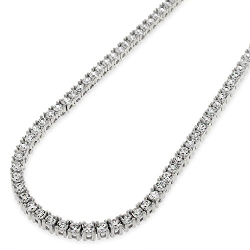 NYC Sterling Unisex Sterling Silver 3mm Cubic Zirconia Tennis Necklace (16 (Sterling Silver Cubic Zirconia Necklace)