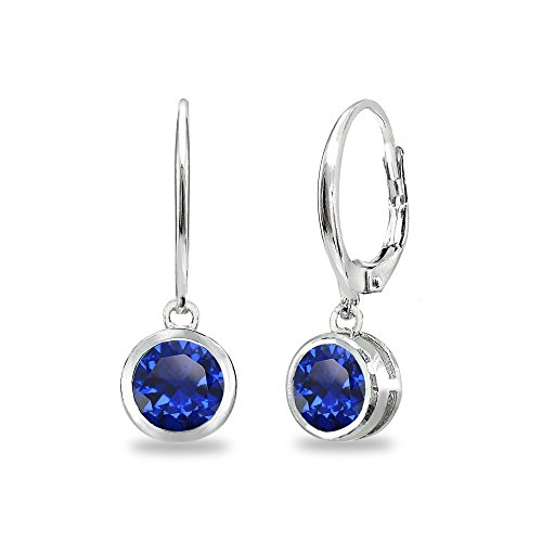 Sterling Silver Created Blue Sapphire 6mm Round Bezel-Set Dangle Leverback Earrings