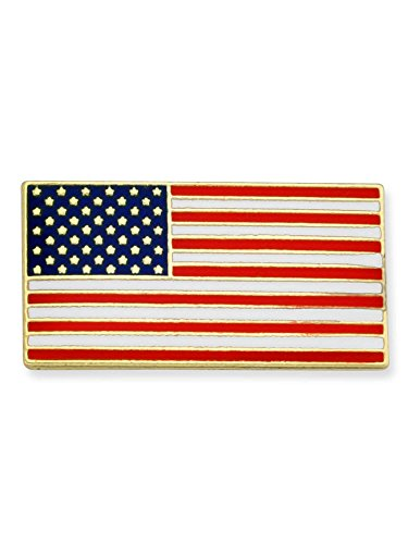 PinMart Official Rectangle Patriotic American Flag USA Lapel Pin 3/4