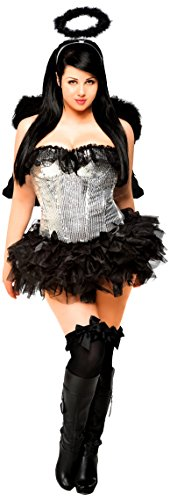 [Daisy Corsets Women's 4 Piece Sequin Dark Angel Costume, Black, 3X] (1910 Costumes)