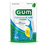 GUM Advanced Care Flossers, Fresh Mint Dental String Floss Picks, Vitamin E & Fluoride, 90 Count