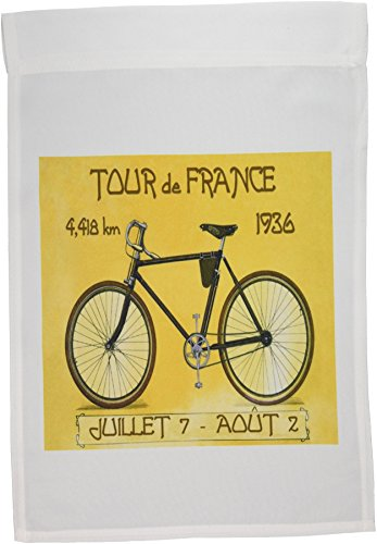 3dRose fl_163246_1 Image of French Poster Ad of Tour De France Bike Race Garden Flag, 12 by 18-Inch