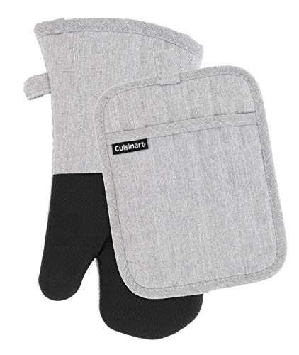 Cuisinart Kitchen Oven Mitt/Glove & Rectangle Potholder with Pocket Set- Neoprene for Easy Gripping, Heat Resistant Chambray Kitchen Accessories- Light Grey