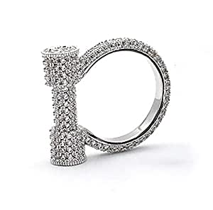 Full Micro Pave Cubic Zirconia Horse Hoof Ring, White Gold Plated Diamond Look