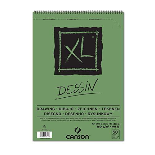 Bloc Dibujo Canson Xl Dessin Din A3 Liso Microperforado Espiral 29,7×42 Cm 50 Hojas 160 Gr