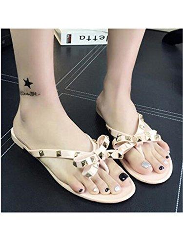 Slippers Cool Bowknot Jelly Women Jwhui Flip Beach Shoes Flat Summer Beige Shoes Flops Rivets Girls fwIUWUv1aq