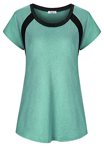 Sleeve Tee Short Dry Sport - Bobolink Loose Fitting Tops for Women, Workout Shirts Plus Size Ladies Short-Sleeve Active Tees Fitness Long Yoga Tunic Stretchy Polyester Fabric Lightweight Sports Clothing Oversized, 2X Green