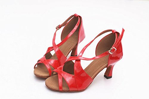 ShangYi Latin dance shoes, dance shoes, adult women's dance shoes, soft bottom square dance shoes, with height 7cm Red PU