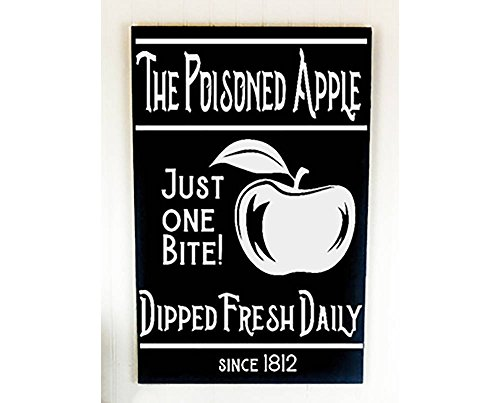 The Poisoned Apple Farmhouse Halloween Sign Neutral Fall Decortions Large Wooden Signs for Fall Front Porch Ideas for Fall and Halloween