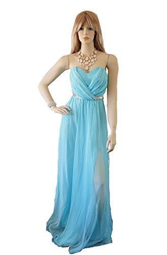 Women's Strapless Chiffon & Sequin Belt Ball Gown Evening Dress