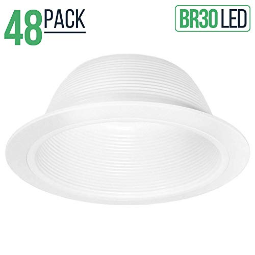 48 Pack - 6 Inch Recessed Can Light Trim - White Metal Step Baffle for 6