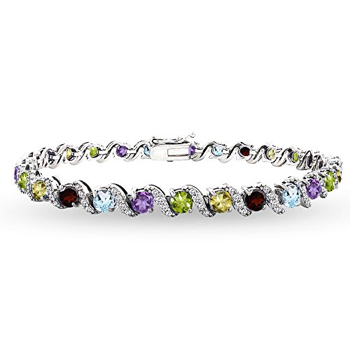 Sterling Silver Multi Gemstone 4mm Round-Cut S Design Tennis Bracelet with White Topaz Accents