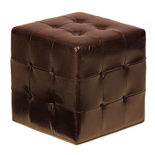 Cortesi Home Furnishings Braque Cube Ottoman in Vinyl, Espresso Brown