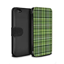 STUFF4 PU Leather Wallet Flip Case/Cover for Apple iPhone 4/4S / Irish Plaid/Tartan Design / Green Fashion Collection