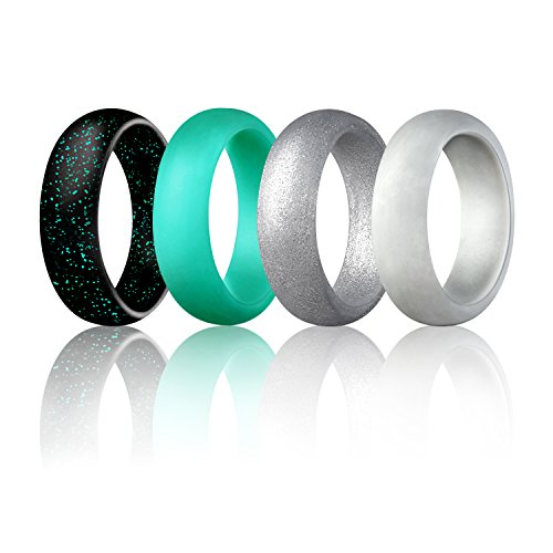 Gray Womens Ring - Egnaro Silicone Wedding Rings For Women-4 Rings Pack-Turquoise,Cool Gray,Silver,Giltter Black