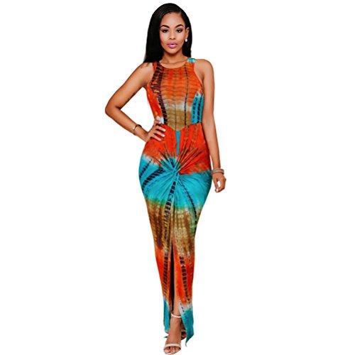 Womens Sexy Tie Dye Print Sleeveless Contrast Split Clubwear Bodycon Maxi Dress...