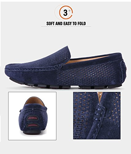 Go Sole D Driving Loafers Boat Mens Lining Stitched Shoes Tour Casual Rubber Blue Slip On dark rxTrqH