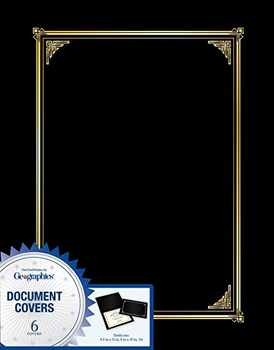Geographics Black Classic Linen Document Covers, 9.75 x 12.5 Inches, Black Gold Foil, 6 Pack (45331H) - Geographics Foil