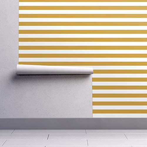(Peel-and-Stick Removable Wallpaper - Stripes Basic Horizontal Gold Gold Nugget Nautical by Booboo Collective - 12in x 24in Woven Textured Peel-and-Stick Removable Wallpaper Test Swatch)