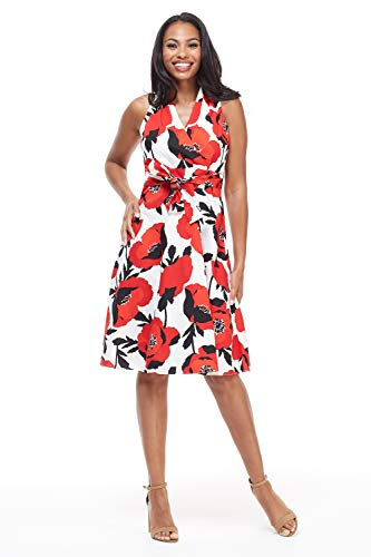 - London Times Womens's Magnolia Wrap 6 White Red