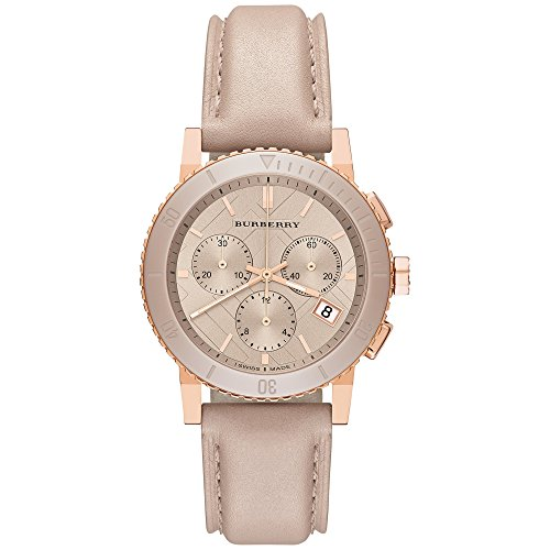 Burberry The City SWISS LUXURY CERAMIC Women 38mm Round Rose Gold Chronograph Watch Nude Leather Band Nude Sunray Date Dial - Pink Burberry